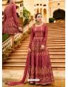 Maroon Silk Embroidered Designer Anarkali Suit