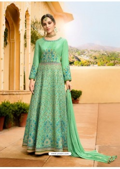 Sea Green Silk Embroidered Designer Anarkali Suit
