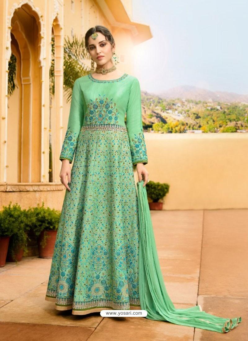 Sea Green Silk Embroidered Designer Anarkali Suit