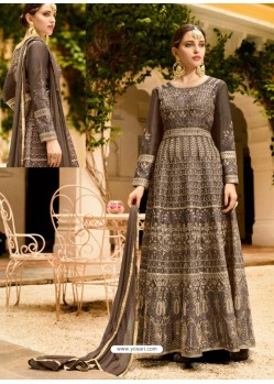 Coffee Silk Embroidered Designer Anarkali Suit