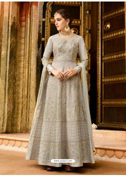 Light Grey Silk Embroidered Designer Anarkali Suit