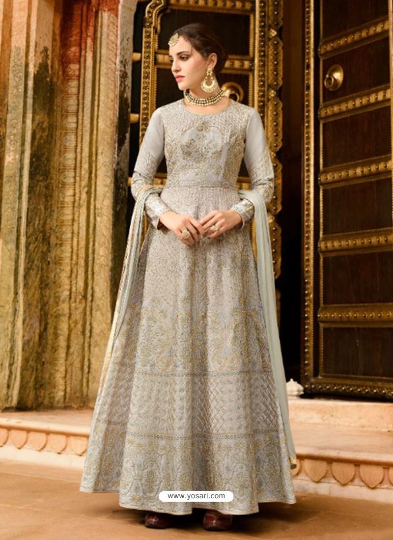 Light Grey Silk Embroidered Designer Anarkali Suit