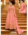 Pink Silk Embroidered Designer Anarkali Suit