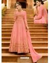 Pink Silk Embroidered Designer Anarkali Suit