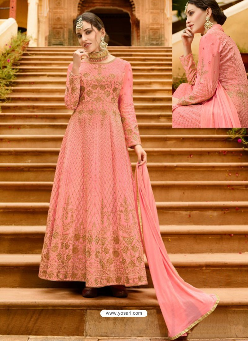 2d59dc86c05 Buy Pink Silk Embroidered Designer Anarkali Suit