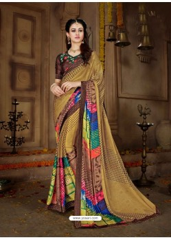Brown Printed Rangoli Georgette Designer Printed Saree