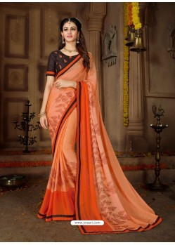 Orange Printed Rangoli Georgette Designer Printed Saree