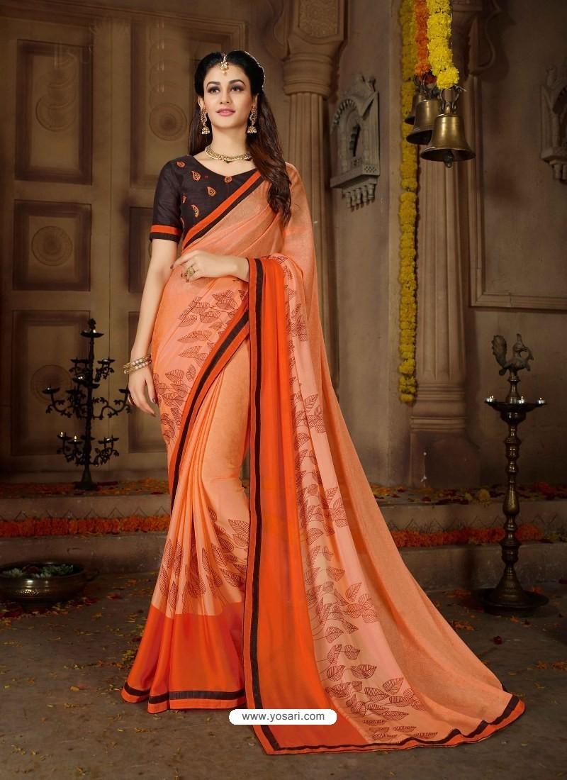 Orange Printed Rangoli Georgette Designer Printed Saree