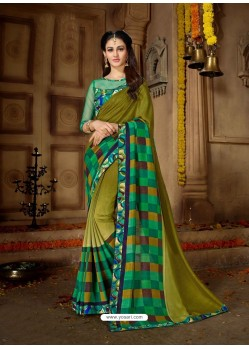 Mehendi Printed Rangoli Georgette Designer Printed Saree