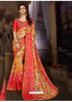 Multi Colour Printed Rangoli Georgette Designer Printed Saree