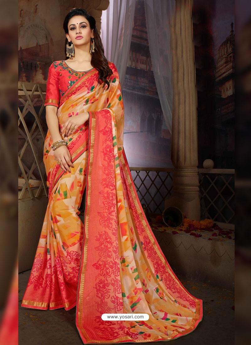 aa93950eeeae3 Buy Multi Colour Printed Rangoli Georgette Designer Printed Saree ...