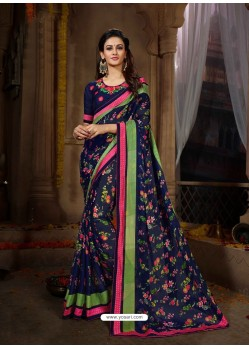 Navy Blue Printed Rangoli Georgette Designer Printed Saree