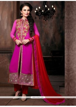 Latest Hot Pink Georgette Pant Style Suit