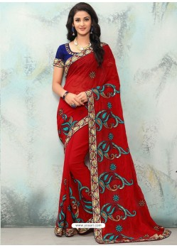 Maroon Georgette With Border Work Designer Saree