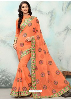 Orange Georgette With Border Work Designer Saree