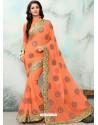 Orange Georgette With Border Work Designer Saree