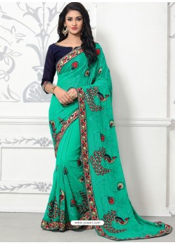 Jade Green Georgette With Border Work Designer Saree