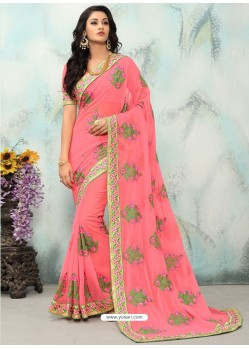 Pink Georgette With Border Work Designer Saree