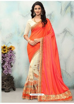 Orange And Cream Georgette With Border Work Designer Saree