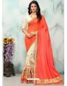 Orange And Cream Georgette With Border Work Designer Saree