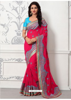 Fuchsia Georgette With Border Work Designer Saree
