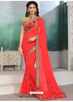 Red Georgette With Border Work Designer Saree
