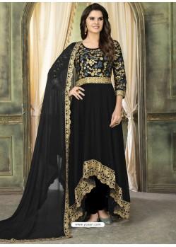 Black Faux Georgette Embroidered Designer Floor Length Suit