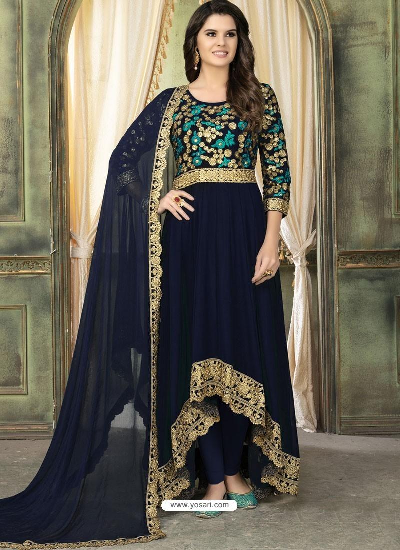 Navy Blue Faux Georgette Embroidered Designer Floor Length Suit