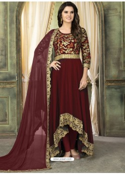 Maroon Faux Georgette Embroidered Designer Floor Length Suit