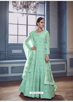 Sea Green Georgette Embroidered Designer Anarkali Suit