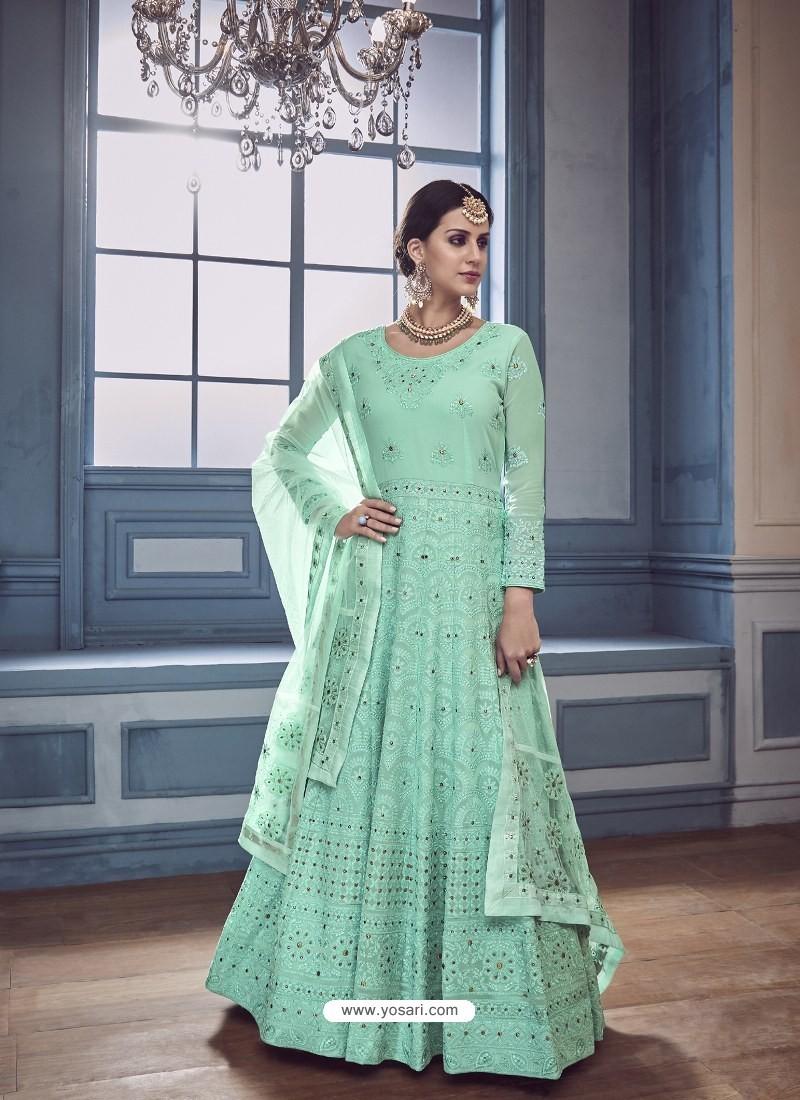 Sea Green Georgette Embroidered Designer Anarkali Suit