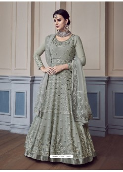 Grey Georgette Embroidered Designer Anarkali Suit