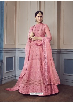 Hot Pink Georgette Embroidered Designer Anarkali Suit