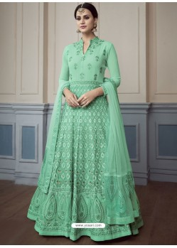 Jade Green Georgette Embroidered Designer Anarkali Suit