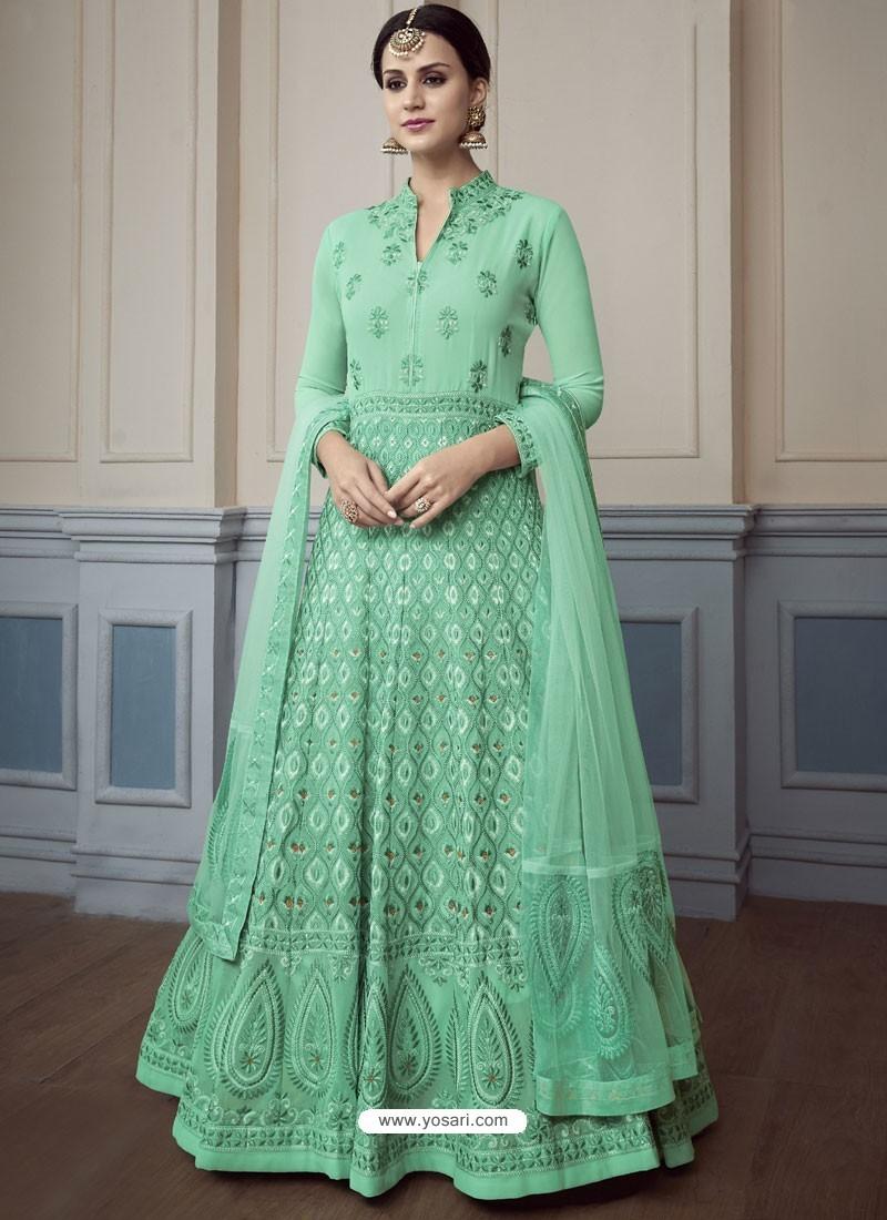 Jade Green Georgette Embroidered Designer Anarkali Suit