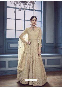 Beige Georgette Embroidered Designer Anarkali Suit