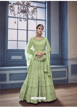 Green Georgette Embroidered Designer Anarkali Suit