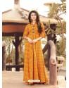 Orange Printed Rayon Designer Gown