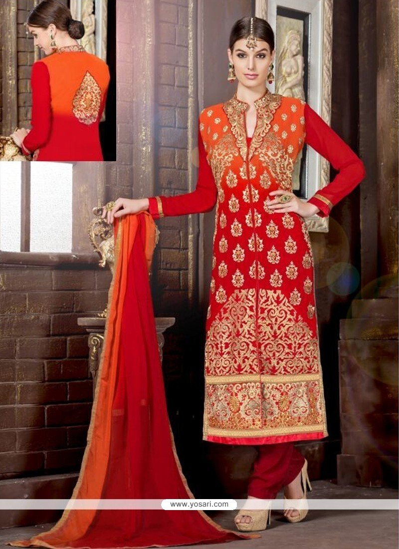 Orange And Red Shaded Georgette Churidar Suit