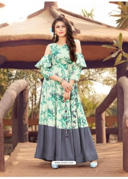 Sea Green Printed Rayon Designer Gown