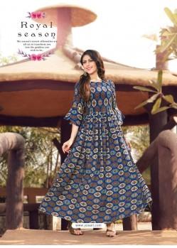Dark Blue Printed Rayon Designer Gown