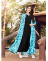 Black And Sky Blue Printed Rayon Designer Gown