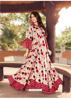 Cream And Red Printed Rayon Designer Gown