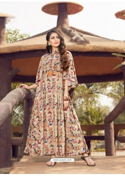 Light Beige Printed Rayon Designer Gown