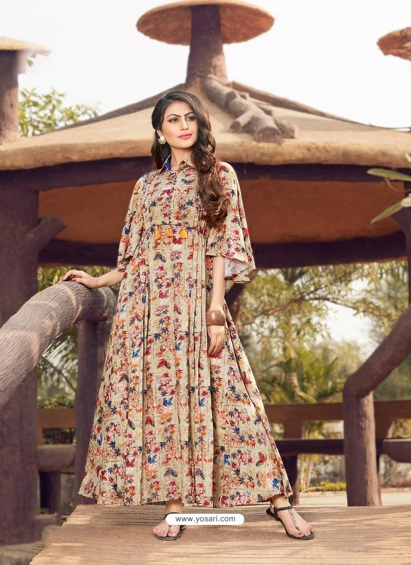 Light Beige Printed Rayon Designer Gown