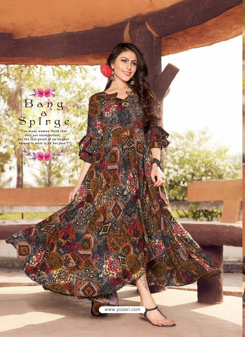 Multi Colour Printed Rayon Designer Gown