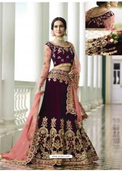 Deep Scarlet Velvet Heavy Embroidered Designer Wedding Lehenga Choli