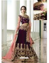Deep Scarlet Velvet Heavy Embroidered Designer Wedding Lehenga Choli