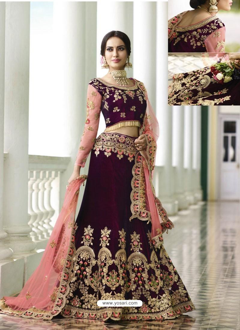 d8e66fb6f0 Buy Deep Scarlet Velvet Heavy Embroidered Designer Wedding Lehenga ...