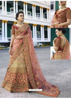 Beige Silk Heavy Embroidered Designer Wedding Lehenga Choli